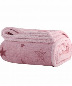 Fleece Κουβέρτα Μονή με Γουνάκι ASTRO PINK της NEF-NEF