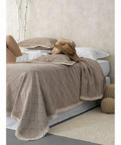 Σετ Καλοκαιρινή Κουβέρτα Υπέρδιπλη Daily Blanket 1179 της Palamaiki (230x250) TAUPE
