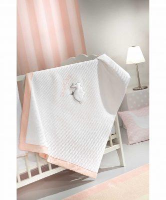 Βρεφική (bebe) Πικέ Κουβέρτα Κούνιας LAPIN της Saint Clair (110x150) PINK
