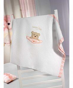 Βρεφική (bebe) Πικέ Κουβέρτα Κούνιας TEDDY της Saint Clair (110x150) ROSE