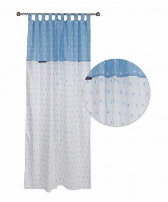 Βαμβακοσατέν Παιδική Κουρτίνα με Θηλιές Essential 2901 της POLO CLUB (140x260) ΛΕΥΚΟ/ΣΙΕΛ