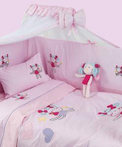 Σετ Βρεφικό Κουβερλί Κούνιας Dream Line Embroidery 6281 με ΔΩΡΟ Λούτρινο της Das Home