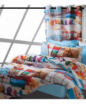 Σετ Κουρτίνα και Διακοσμητικό Μαξιλάρι Happy Line Photo Prints 9245 της Das Home