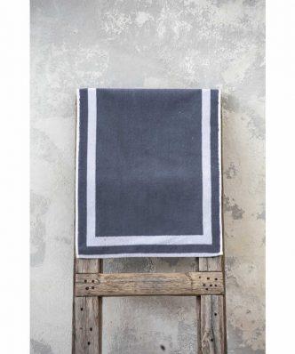 Ξενοδοχειακό Πατάκι Μπάνιου (50x75) DOBBY GREY / WHITE BORDER - 650gsm / 100% Βαμβάκι