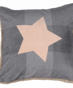 Fleece Διακοσμητικό Μαξιλάρι με Γουνάκι (45x45) COLD OUTSIDE ΓΚΡΙ της NEF-NEF