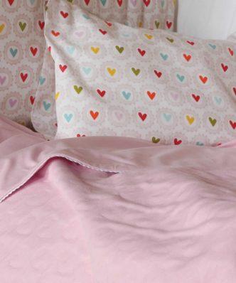 Βρεφική καλοκαιρινή Κουβέρτα Λίκνου (bebe) CUTE HEART PINK της NEF-NEF