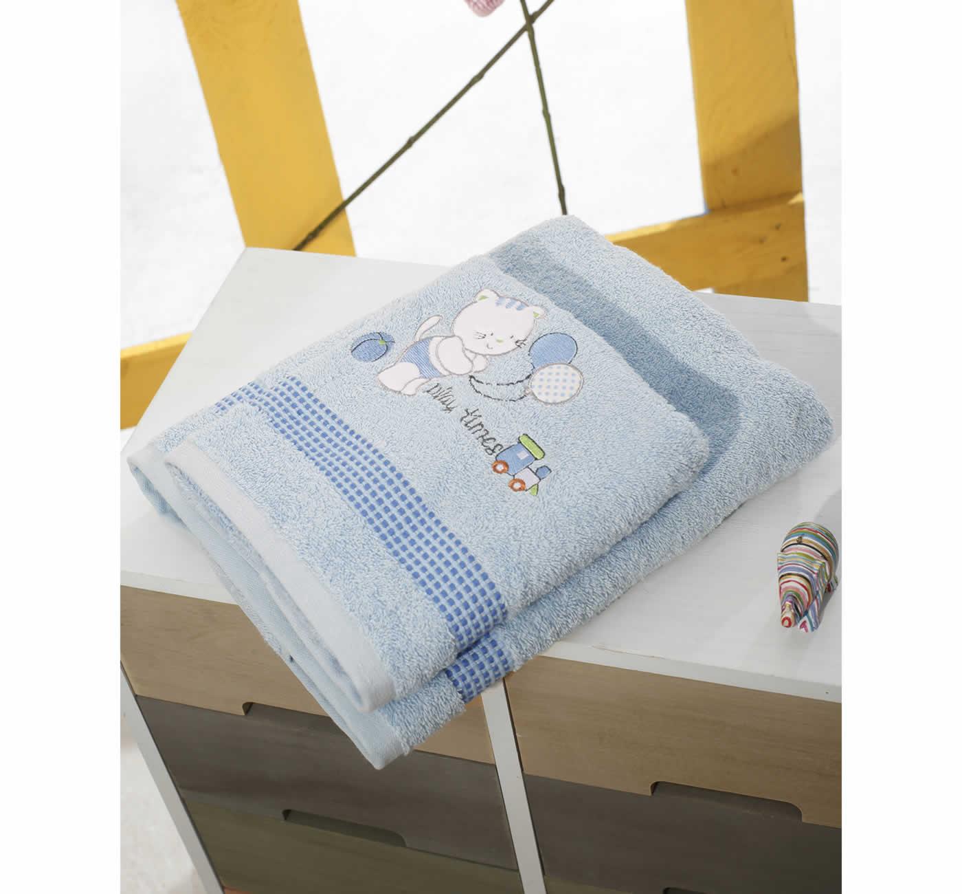 Σετ Βρεφικές Πετσέτες (bebe - 2τμχ.) KITTEN BLUE της Sb Home