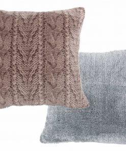 Fleece Διακοσμητικό Μαξιλάρι με Γουνάκι (45x45) KNITTY BEIGE της NEF-NEF
