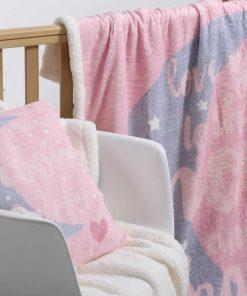 Fleece Βρεφική Κουβέρτα Κούνιας με Γουνάκι (bebe) MOON AND BACK PINK της NEF-NEF