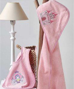 PRINCIPAL Βρεφική (bebe) Πετσέτα με κουκούλα και Σαλιάρα της ΚΕΝΤΙΑ (75x75)