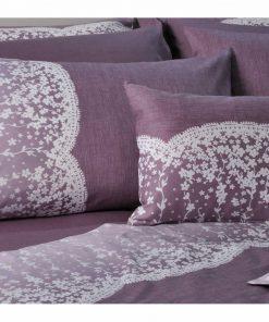 Βαμβακοσατέν Υπέρδιπλο Πάπλωμα Lace Purple S622 της Down Town