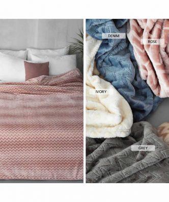 Κουβέρτα Ημίδιπλη Flannel Fleece ZIG ZAG της Palamaiki