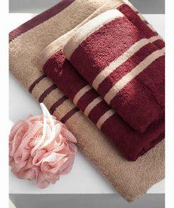 Σετ Πετσέτες Μπάνιου (3 τμχ.) Towels Collection CONTRAST της Palamaiki WINE