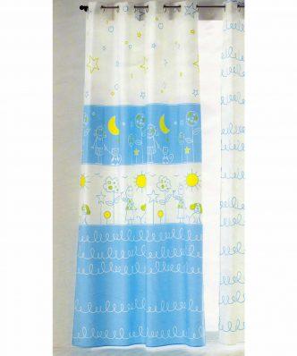 Έτοιμη Παιδική Κουρτίνα (150x280) με τρουκς SOL Y LUNA ψηφιακής εκτύπωσης