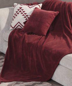 Fleece Κουβέρτα Καναπέ / Ριχτάρι AVA της NEF-NEF (130x170) BORDO