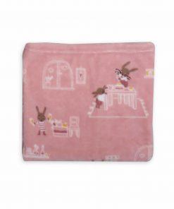 Βρεφική (bebe) Fleece Κουβέρτα Κούνιας RABBIT IN THE HOUSE της NEF-NEF (110x140)