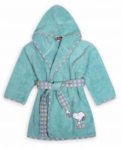 Βρεφικό (bebe) Μπουρνούζι SNOOPY HAPPINESS της NEF-NEF - AQUA - (No.02)