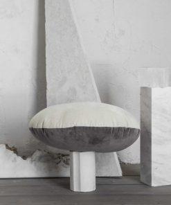 Βελουτέ Διακοσμητική Μαξιλαροθήκη VELVETY της NIMA HOME (Δ:45cm) BEIGE / GRAY