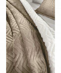 Fleece Κουβέρτα με Γουνάκι Υπέρδιπλη VELLUTO της Guy Laroche (220x240) CAMEL