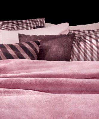 Βελουτέ Κουβέρτα Ultrasoft Μονή SMOOTH της Guy Laroche (160x220) PINKY