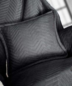 Fleece Διακοσμητικό Ριχτάρι με Γουνάκι και Μαξιλαράκι VELLUTO της Guy Laroche (130x170+40x40) ANTHRACITE