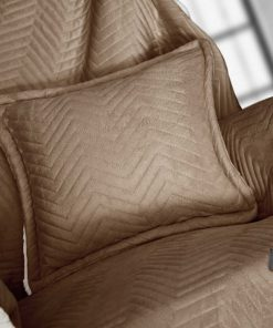 Fleece Διακοσμητικό Ριχτάρι με Γουνάκι και Μαξιλαράκι VELLUTO της Guy Laroche (130x170+40x40) CAMEL