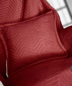 Fleece Διακοσμητικό Ριχτάρι με Γουνάκι και Μαξιλαράκι VELLUTO της Guy Laroche (130x170+40x40) ROSSO