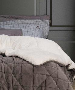 Γούνινο Κουβερτοπάπλωμα Υπέρδιπλο Premium 2315 της POLO CLUB (220x240) ΓΚΡΙ ΣΚΟΥΡΟ
