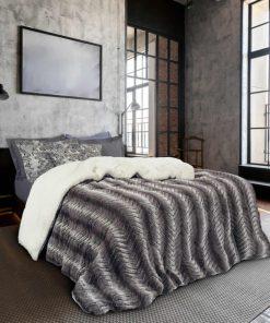 Γούνινο Κουβερτοπάπλωμα Υπέρδιπλο Blankets Line 1130 της Das Home (220x240) ΓΚΡΙ