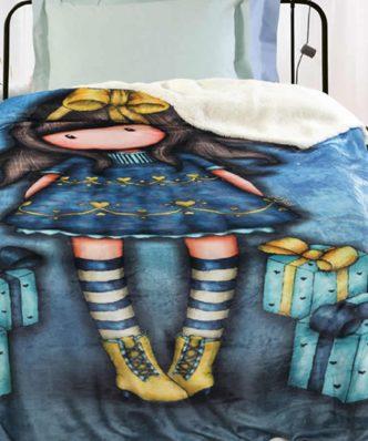 Παιδική Fleece Κουβέρτα με γουνάκι Μονή SANTORO GORJUSS JUST - BECAUSE 5020 της Das Home (160X220) ΜΠΛΕ