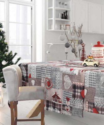 Χριστουγεννιάτικο Τραπεζομάντηλο Christmas Line 571 της Das Home (140x180) ΓΚΡΙ/ΚΟΚΚΙΝΟ