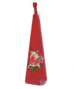 Χριστουγεννιάτικη Στρογγυλή Πετσέτα Christmas Line 588 της Das Home (Δ: 50 cm) ΚΟΚΚΙΝΟ