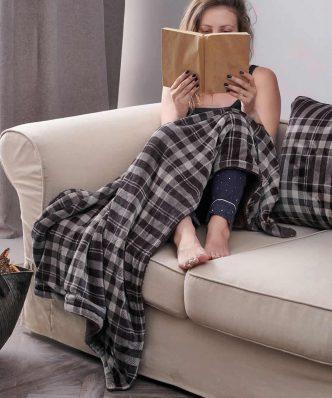 Fleece Διακοσμητική Κουβέρτα Καναπέ CHECK της Palamaiki (120x150) GRAY