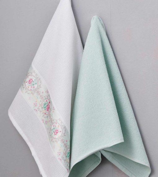 Ζευγάρι Πετσέτες Κουζίνας Kitchen Towels AQUA της Palamaiki (50x70)