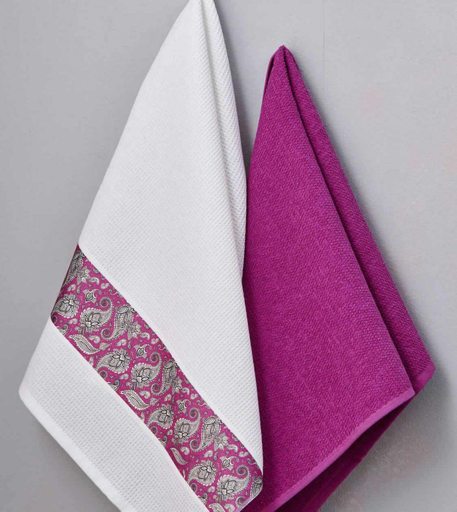 Ζευγάρι Πετσέτες Κουζίνας Kitchen Towels RUBINA της Palamaiki (50x70)