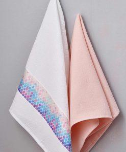 Ζευγάρι Πετσέτες Κουζίνας Kitchen Towels SALMONE της Palamaiki (50x70)