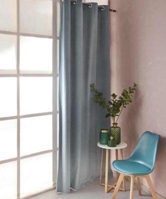 Βελουτέ Κουρτίνα με Τρούκς Curtain Collection ABBOT της Palamaiki (140x260) BLUE