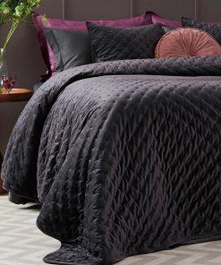 Βελουτέ Κουβερλί King Size (Γίγας) Velvet Covers CARRIE της Palamaiki (240x260) GRAY