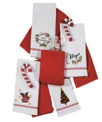 Σετ Χριστουγεννιάτικα Ποτηρόπανα (2 τμχ.) Christmas Line 585 της Das Home (40x60) ΚΟΚΚΙΝΟ/ΛΕΥΚΟ
