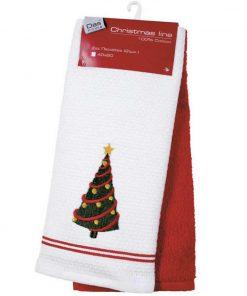 Σετ Χριστουγεννιάτικα Ποτηρόπανα (2 τμχ.) Christmas Line 587 της Das Home (40x60) ΚΟΚΚΙΝΟ/ΛΕΥΚΟ
