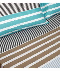 Παπλωματοθήκη Διπλή (200x240) Ultra Line STRIPEMANIA GREEN της MELINEN