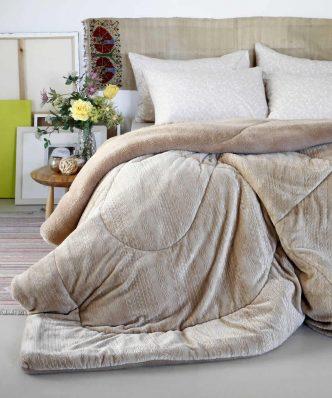 Φανελένιο Κουβερτοπάπλωμα Μονό με Γούνα SHELBY της MELINEN (160x220) BEIGE