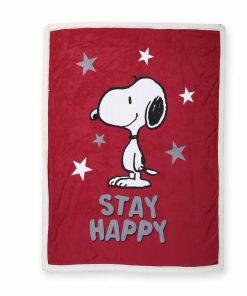 Διακοσμητικό Ριχτάρι / Κουβέρτα Καναπέ SNOOPY BE HAPPY της NEF-NEF (130x170)