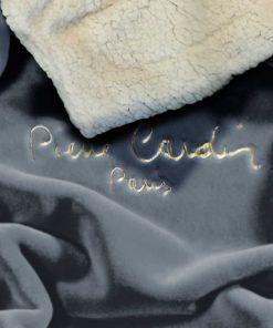 Μονή Κουβέρτα Fleece με γουνάκι FLANNEL 545 της PIERRE CARDIN - GREY