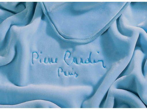 Υπέρδιπλη Βελουτέ Κουβέρτα Ισπανίας NANCY 545/3 της PIERRE CARDIN - LIGHT BLUE