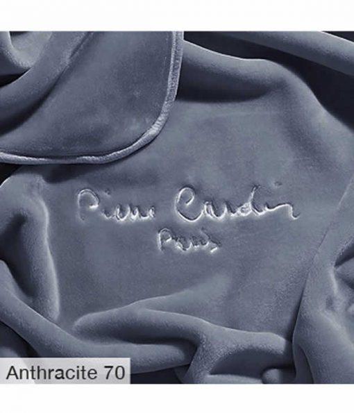 Υπέρδιπλη Βελουτέ Κουβέρτα Ισπανίας NANCY 545/70 της PIERRE CARDIN - ANTHRACITE
