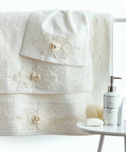 Σετ (3τμχ) Νυφικές Πετσέτες Μπάνιου PAMELA της Sb Home