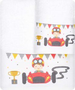 Σετ (2τμχ) Παιδικές Πετσέτες ΡΑΛΙΣΤΑΣ της της BOREA - ΛΕΥΚΟ
