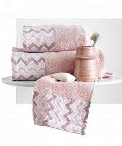 Σετ (3τμχ) Πετσέτες Μπάνιου WAVES της Sb Home PINK
