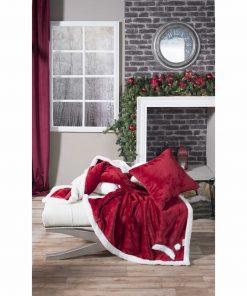 Χριστουγεννιάτικο Διακοσμητικό Ριχτάρι - Κουβέρτα Καναπέ με γουνάκι (130x160) RED HUT της TEORAN
